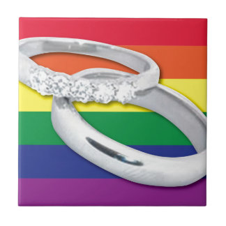 Gay Lesbian Wedding Small Square Tile