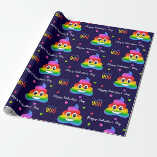 Gay love poop emoji Valentine's day wrapping paper