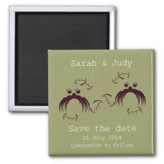 Gay, Loving seals Save the date Square Magnet