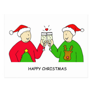 Gay Male Partner Happy Christmas Postcard