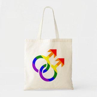 Gay male rainbow tote bag