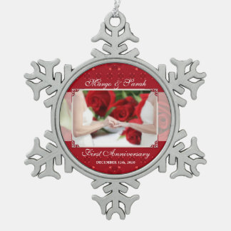 Gay Marriage 1st Anniversary Two Brides Pewter Snowflake Decoration
