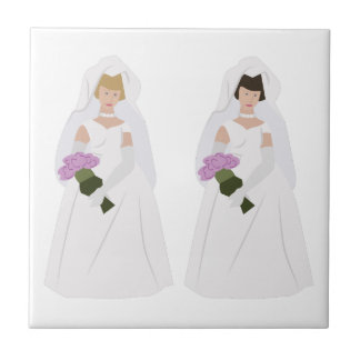 Gay Marriage Brides Small Square Tile