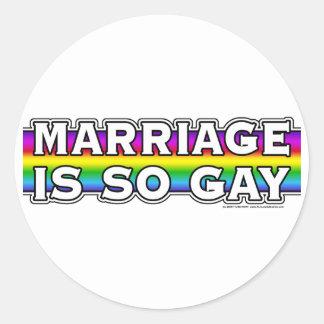 Gay Marriage Rainbow Round Sticker