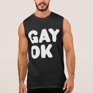 GAY OK Big Text Logo LGBT Equality Black And White Sleeveless Tees