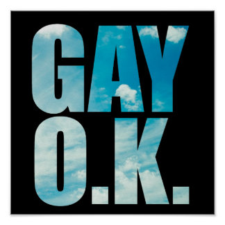 Gay OK Funny Hipster Cloud Text Poster