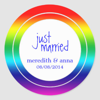 Gay or Lesbian Wedding Just Married Round Stickers