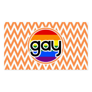 Gay; Orange and White Chevron Business Card