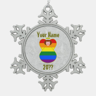 Gay Pride Angel Rainbow Flag Auburn Hair Pewter Snowflake Decoration