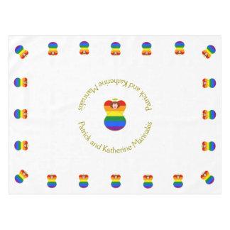 Gay Pride Angel Rainbow Flag Auburn Hair Tablecloth