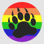 Gay Pride Bear Paw Sticker