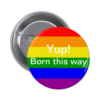 Gay pride flag born this way buttons