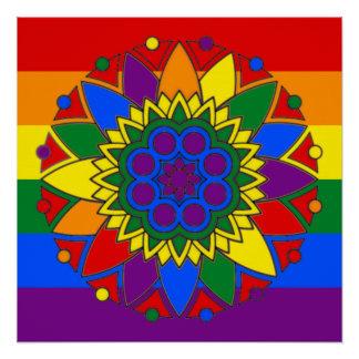 Gay Pride Flag Colors Mandala LGBT