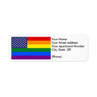 """GAY PRIDE FLAG"" CUSTOMIZABLE RETURN ADDRESS LABEL"