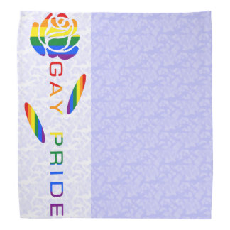 Gay Pride Flag Rose Blue White Background Bandana