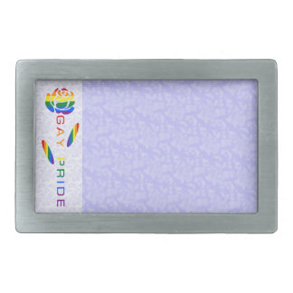 Gay Pride Flag Rose Blue White Background Rectangular Belt Buckles