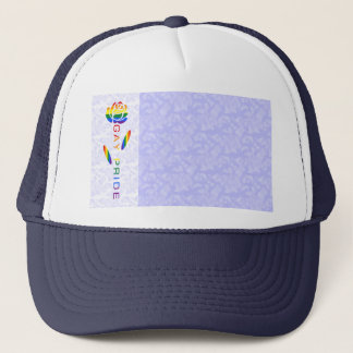 Gay Pride Flag Rose Blue White Background Trucker Hat