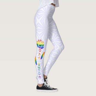 Gay Pride Flag Rose White Squiggly Squares Leggings
