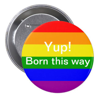 Gay pride flag yup born this way pinback buttons
