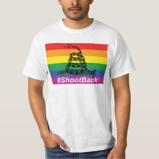 Gay Pride Gadsen Rattlesnake Flag Shoot Back T-Shirt