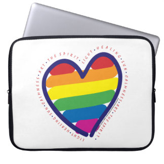 Gay Pride Heart and Words Laptop Sleeve