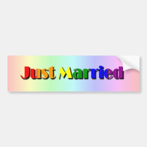 Gay Pride Just Married Bumper Sticker