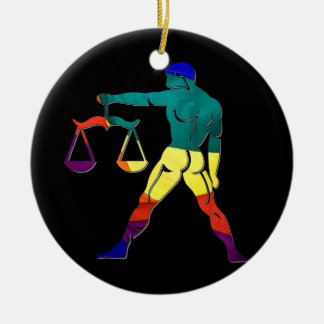 Gay Pride Libra Double-Sided Ceramic Round Christmas Ornament