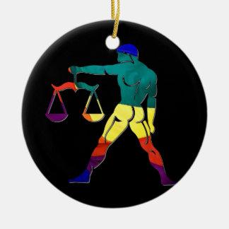 Gay Pride Libra Round Ceramic Decoration