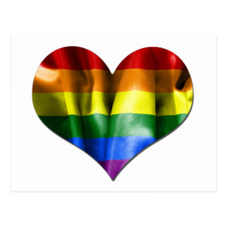 Gay Pride Love Heart Flag Postcard