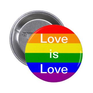 Gay pride love is love rainbow flag button