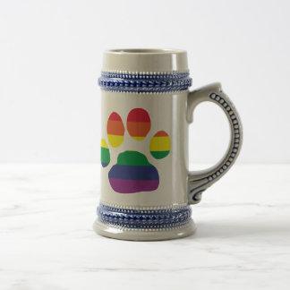 Gay-Pride-Paw-Print Beer Stein