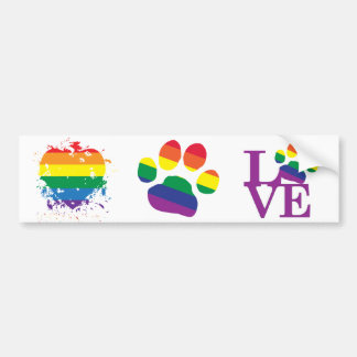 Gay-Pride-Paw-Print Bumper Sticker