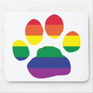 Gay-Pride-Paw-Print Mouse Pad