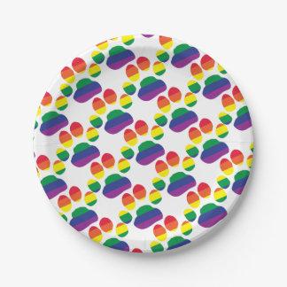 Gay-Pride-Paw-Print Paper Plate