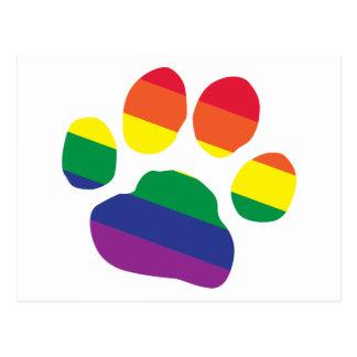Gay-Pride-Paw-Print Postcard