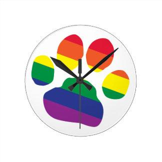 Gay-Pride-Paw-Print Round Clock