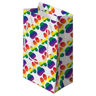 Gay-Pride-Paw-Print Small Gift Bag