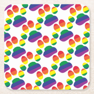 Gay-Pride-Paw-Print Square Paper Coaster
