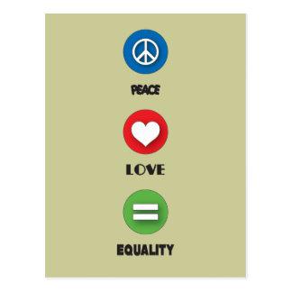 Gay Pride Peace Love Equality Postcard