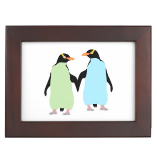 Gay Pride Penguins Holding Hands Keepsake Box