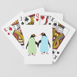 Gay Pride Penguins Holding Hands Playing Cards