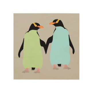 Gay Pride Penguins Holding Hands Wood Canvases