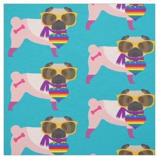 Gay Pride Pugs - Yellow Glasses Fabric