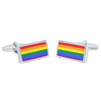 Gay Pride Rainbow Flag Cufflinks Silver Finish Cuff Links