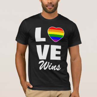 Gay Pride Rainbow Flag Heart Love Wins T-Shirt