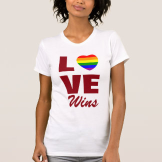 Gay Pride Rainbow Flag Heart Love Wins T-Shirt