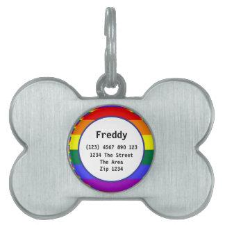 Gay Pride Rainbow Flag ID Name Pet Tag
