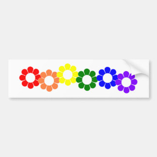 Gay Pride Rainbow Flowers Bumper Sticker
