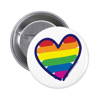 Gay Pride Rainbow Heart 6 Cm Round Badge