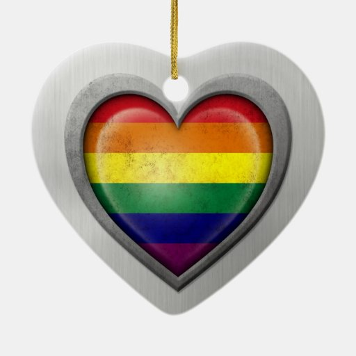 Gay Pride Rainbow Heart Flag Stainless Steel Effec Ornament